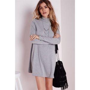 MERONA HIGH NECK GREY SWING DRESS W/ LONG SLEEVES